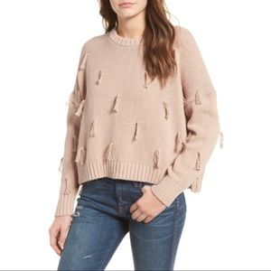 Madewell Tassel Pullover Knit Blush Sweater Small
